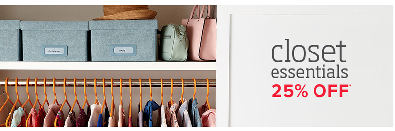 25% Off Closet Essentials | The Container Store Screenshot: The Container  Store