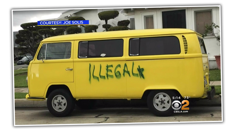 Assholes Spray Paint 'Illegal' On California Man's Vintage VW Bus