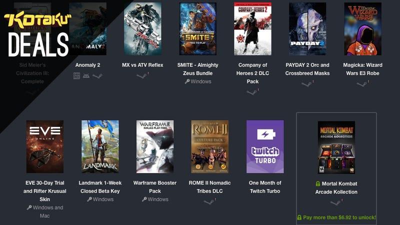 Illustration for article titled Deals: Humble Twitch E3 Bundle, PS4/Vita Bundle, PS+, Civ V, Logitech