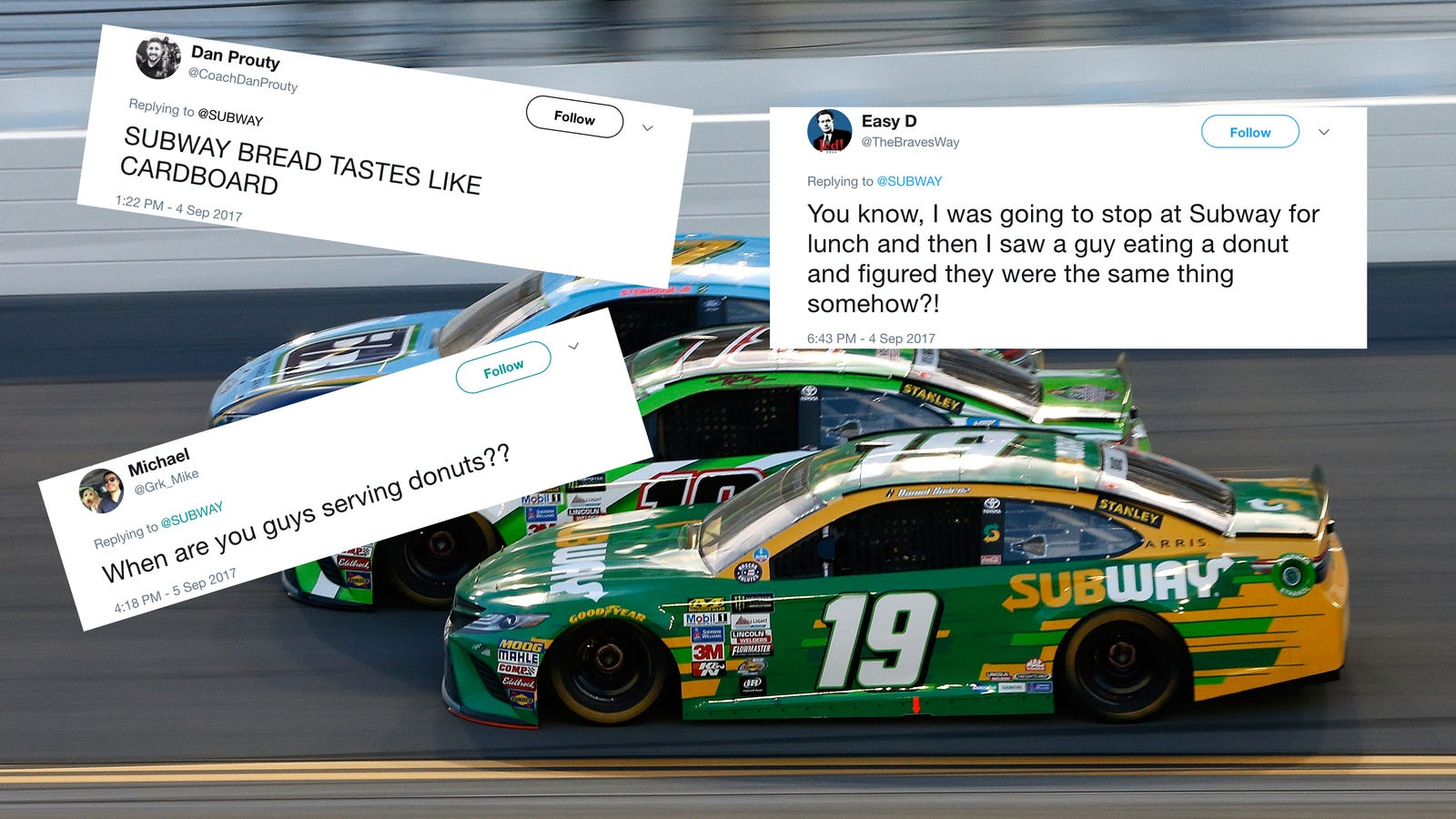 Angry nascar fans are roasting subway for dropping su rez s sponsorship over a donut