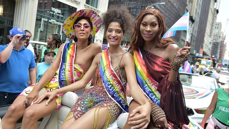 MJ Rodriquez, Indya Moore, and Dominique Jackson attend Pride March - WorldPride NYC 2019 on June 30, 2019, in New York City.