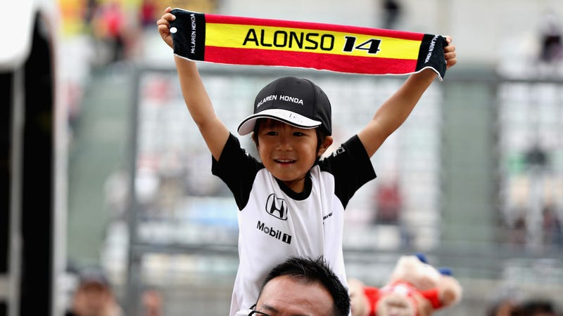 A young Fernando Alonso fan, who has likely been through a lot of heartbreak in not a lot of years. Photo credit: Mark Thompson/Getty Images
