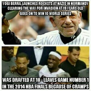 Illustration for article titled Toughness Meme Goes Off The Rails With LeBron-Yogi Berra Comparison