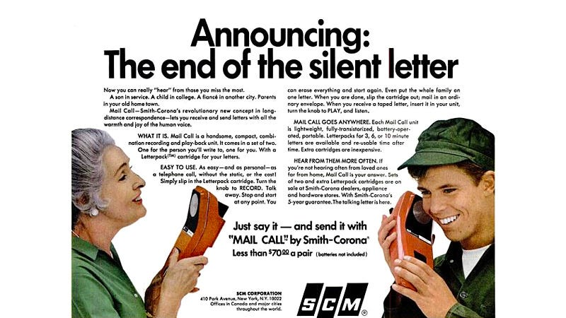 Illustration for article titled Mailing Recorded Messages Was Once an Actual Alterative To Long Distance Phone Charges