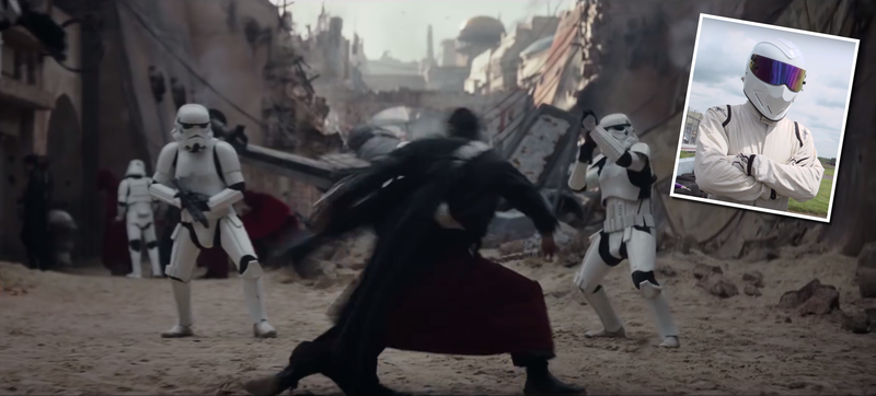 Screencaps via Star Wars (background), The Stig (inset)