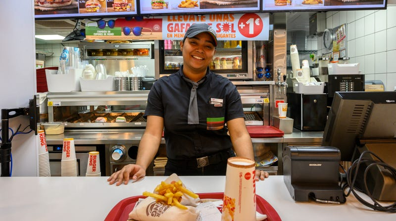 A Burger King employee in Madrid, Spain