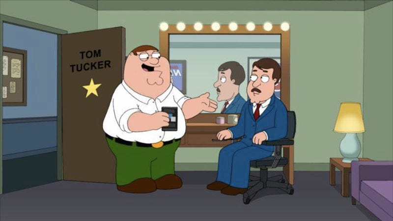"""Illustration for article titled Family Guy: """"Tom Tucker: The Man And His Dream"""""""