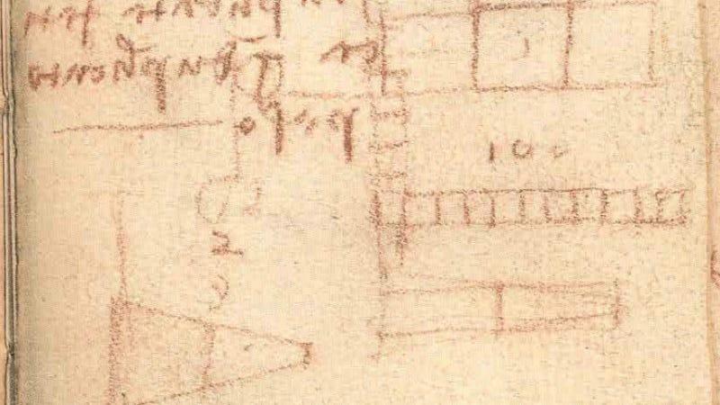 Codex Forster III folio 72r. Imagen: Museo V&A de Londres (recorte)