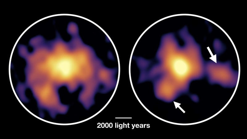 Clumps of gas (left) and dust (right) in the galaxy as imaged by ALMA