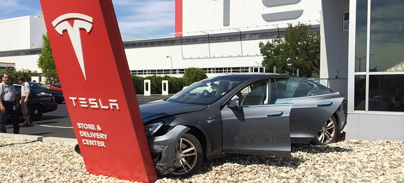 Illustration for article titled Person Buys Tesla, Person Immediately Crashes Tesla