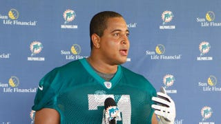 Jonathan Martin of the Miami Dolphins talks ot the media after the rookie minicamp on May 4, 2012 at the Miami Dolphins training facility in Davie, Fla.Joel Auerbach/Getty Images