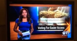 Charlo Greene on air as a reporter at KTVA-TV seconds before she quit Sept. 21, 2014. YouTube
