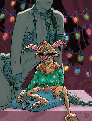 Illustration for article titled Salacious Crumb dons his ugliest sweater for the Star Wars holiday cards