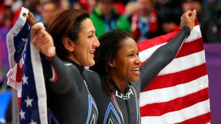 Silver medalists Elana Meyers and Lauryn Williams of the U.S. team 1 pose during the Women's Bobsleigh on day 12 of the Sochi 2014 Winter Olympics at Sliding Center Sanki in Sochi, Russia, Feb. 19, 2014.Alex Livesey/Getty Images