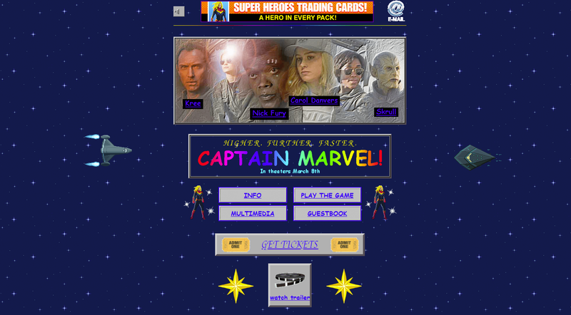 Captain Marvel's new website is a glorious '90s Geocities fever dream