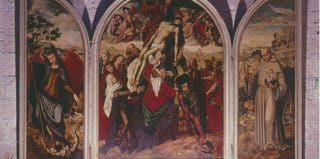 Deposition From the Cross with St. Michael and St. Anthony, by Ambrosius Benson, ca. 1530. Segovia, Church of San Miguel