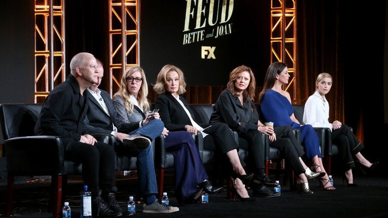 Executive producers/writers/directors Ryan Murphy and Tim Minear, executive producer Dede Gardner, and actors Jessica Lange, Susan Sarandon, Alison Wright, Catherine Zeta-Jones, and Kiernan Shipka of Feud (Photo: Frederick M. Brown/Getty Images)