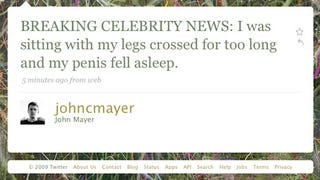 Illustration for article titled Breaking John Mayer News - John Mayer Very Slightly Injures Himself
