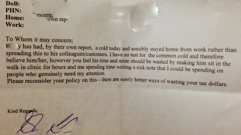 a sick note we all wish our doctors would write