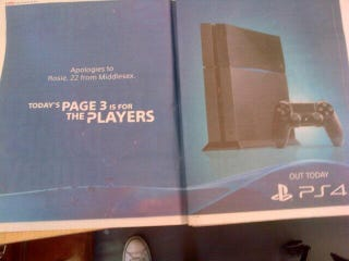 Illustration for article titled The Sun's Page 3 Girl was The Playstation 4
