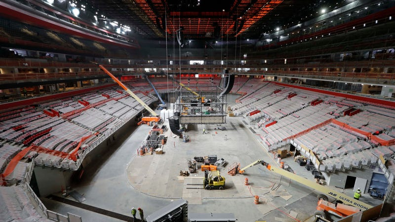 Construction of the now-completed Little Caesars Arena. Photo: AP