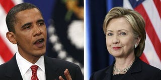 President Barack Obama (Win McNamee/Getty Images); Hillary Clinton (Scott Olson/Getty Images News)