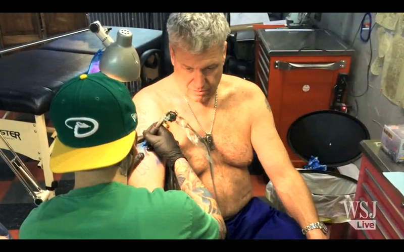 Illustration for article titled Rex Ryan Has Tattoo Of Wife Wearing Jets Jersey Darkened To Bills Blue