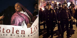 Demonstrator Fatimah Shakur at Kimani Gray protest, March 13; NYPD patrol at protest (Allison Joyce/Getty Images)