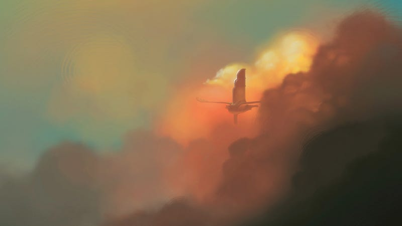 Illustration for article titled An airship emerges from the reddish clouds of dawn