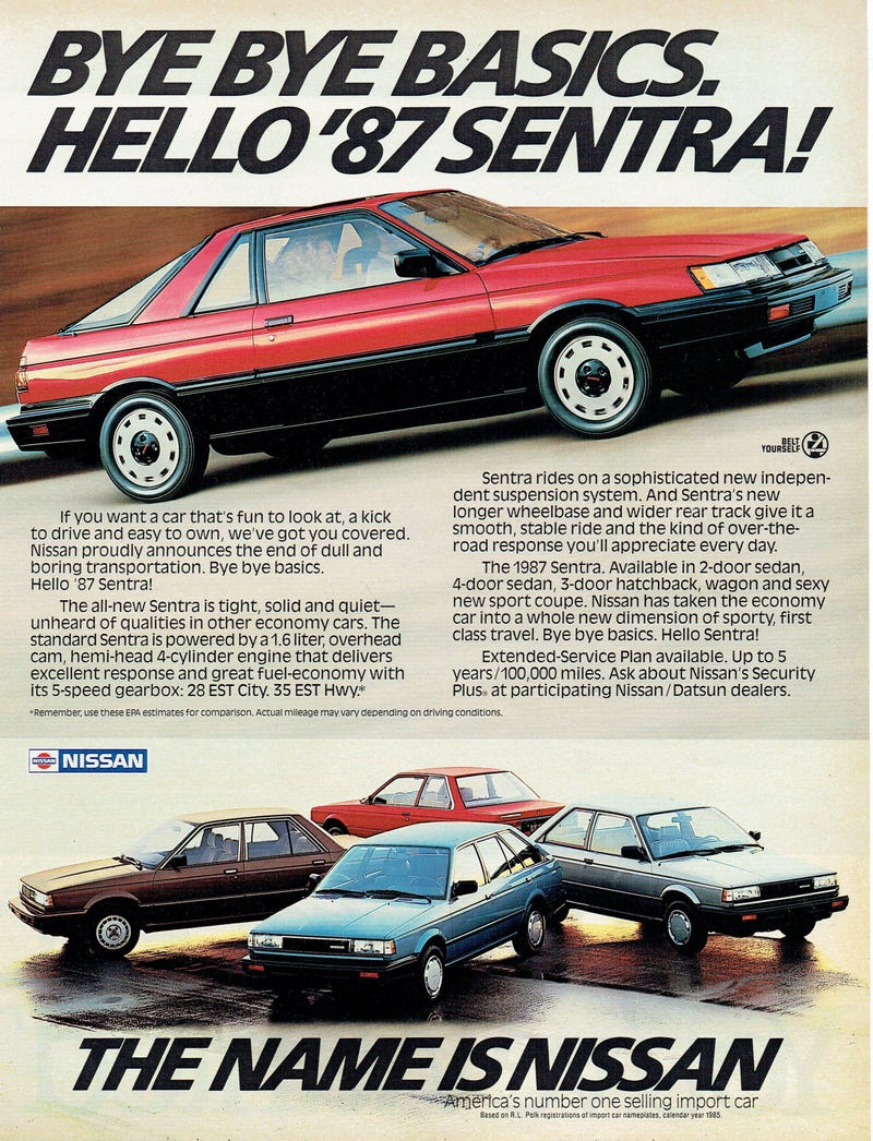 The 1987 Nissan Sentra sport coupe on top, with the (clockwise from the rear) Sentra 2-door sedan, 3-door hatchback, wagon, and 4-door sedan also available.
