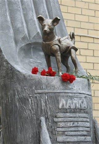 Illustration for article titled Soviet Dog Cooked in Space Only Got this Lousy Statue