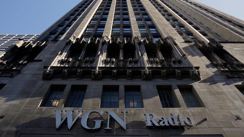Tribune Tower, marked with the sign of Tribune Media subsidiary WGN Radio, in downtown Chicago.