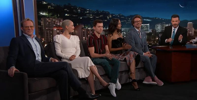 Paul Bettany, Pom Klementieff, Tom Holland, Zoe Saldana, Robert Downey Jr., Jimmy Kimmel