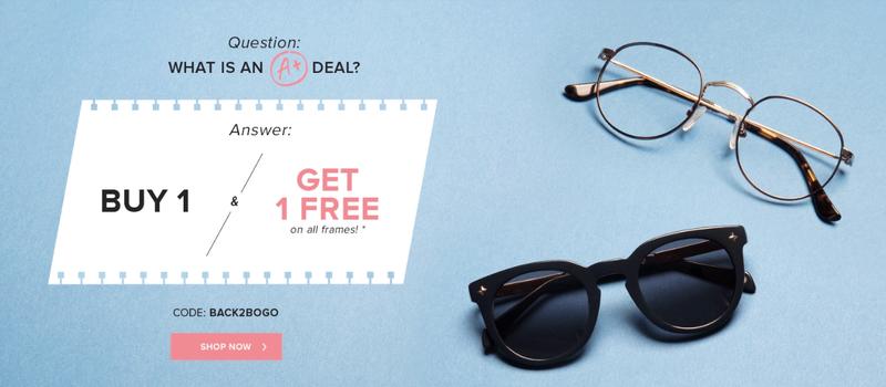 Buy one, get one free | EyeBuyDirect | Use code BACK2BOGO