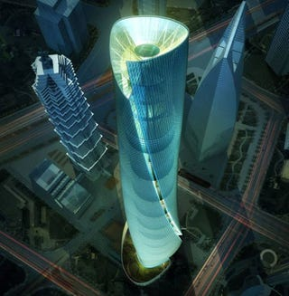 Illustration for article titled 632-Meter Shanghai Tower Will Spin Towards The Sky