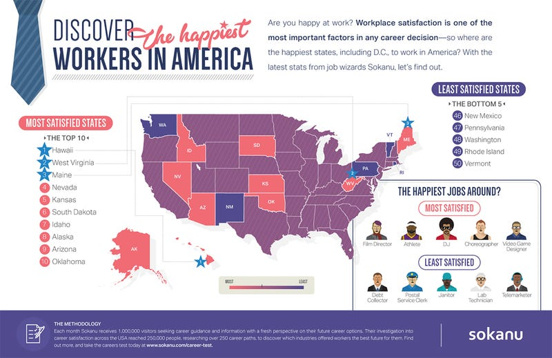 Illustration for article titled The States With the Happiest Workers In America