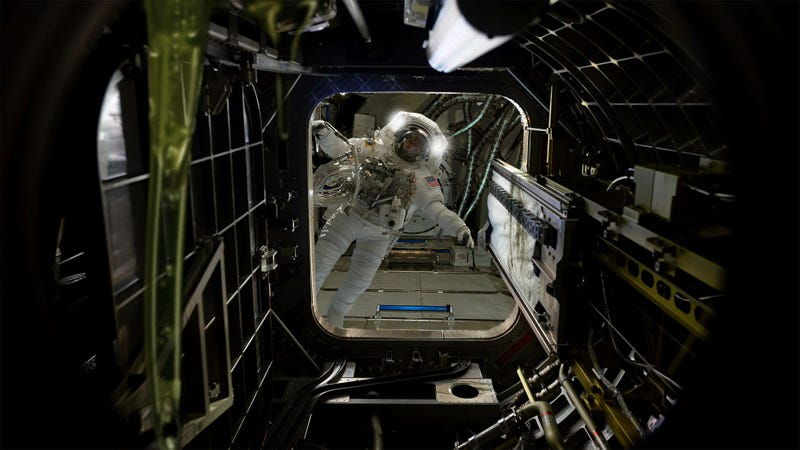 Illustration for article titled 'I Don't Like The Look Of This,' Says Astronaut Entering Flickering, Ooze-Covered Abandoned Section Of ISS