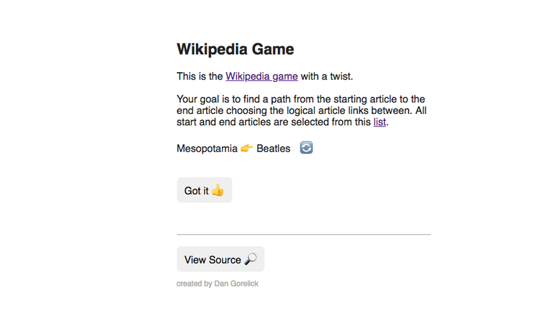 Illustration for article titled Glitch Wikipedia Makes Article-Hopping Into A Game
