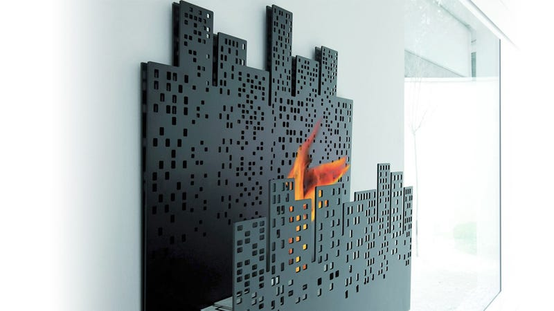 Illustration for article titled Cityscape Fireplace Appeals To Your Inner Arsonist