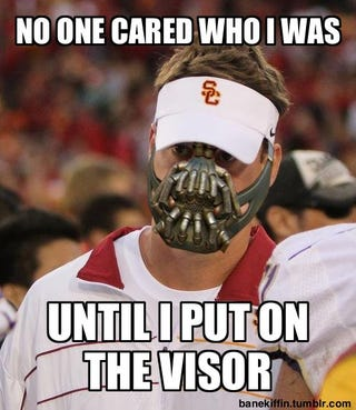"""Illustration for article titled Finally, Batman Meets USC With """"Bane Kiffin"""""""