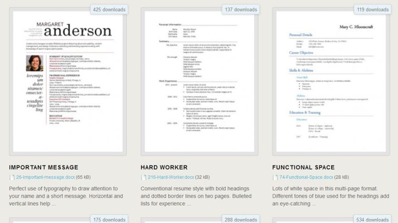 Lifehacker  Microsoft Resume Templates Download
