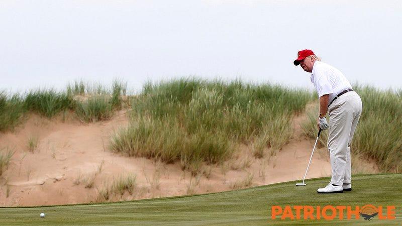 Donald Trump playing golf.