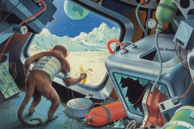 Illustration for article titled Concept Art Writing Prompt: A Monkey Lands on the Moon
