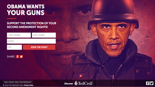 """Still from page titled """"Obama Wants Your Guns"""" on Ted Cruz's campaign websiteTedCruz.org screenshot"""