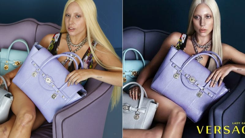 Illustration for article titled What Lady Gaga's Versace Ads Look Like Without Photoshop
