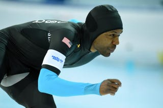 Shani Davis competes in the Men's Speed Skating 1,500-meter at the Adler Arena during the Sochi Winter Olympics Saturday.JUNG YEON-JE/AFP/Getty Images