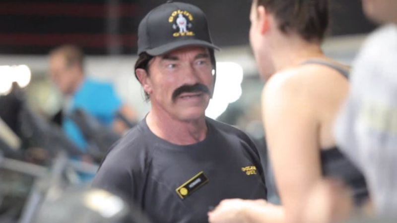 Illustration for article titled And now, we imagine Arnold Schwarzenegger's commentary on this video of Arnold Schwarzenegger pranking gym members