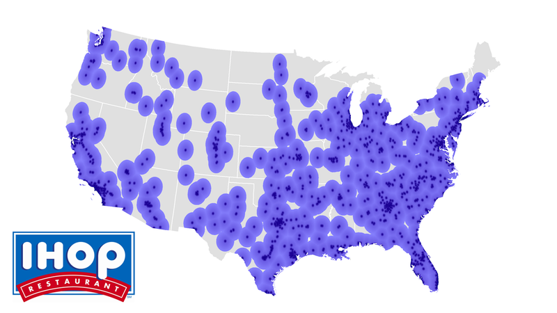Map Do You Live In IHOP America Or Waffle House America - Density map of waffle house in us