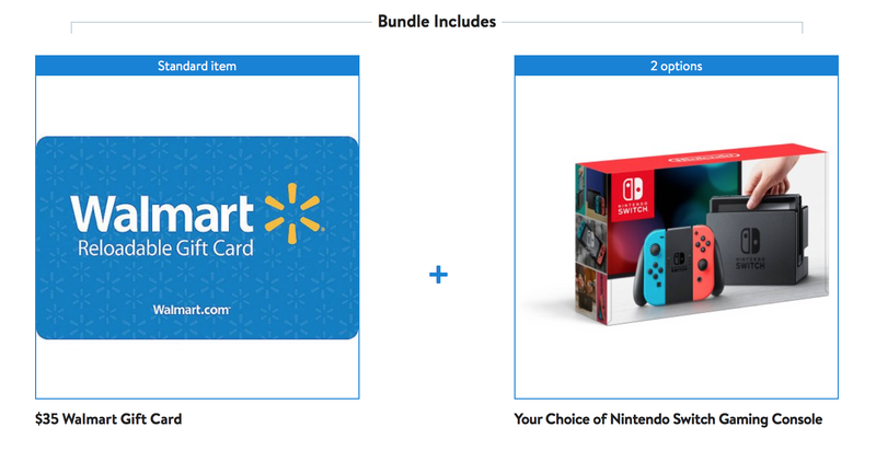 Nintendo Switch + $35 Gift Card | $300 | | Walmart