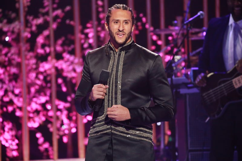 Colin Kaepernick speaks onstage during VH1's 3rd Annual 'Dear Mama: A Love Letter To Moms' - Inside Show at The Theatre at Ace Hotel on May 3, 2018, in Los Angeles.